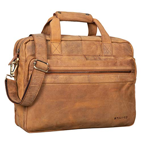 STILORD 'Adventure' Vintage Teacher Bag Men Women Business Bag Leather Satchel Shoulder Bag Satchel Laptop Bag Large Working Bag Office Bag Genuine Leather, Colour:Lava - Brown