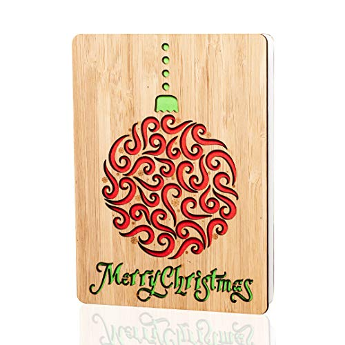 Merry Christmas Cards / Gifts : Handmade real bamboo happy holidays card. Vibrant festive design. Perfect for sending Xmas or season`s greetings to husband, wife, parents, her, him, friends and family