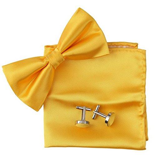 Label-Cravate Noeud papillon jaune-soleil, pochette costume et boutonnières