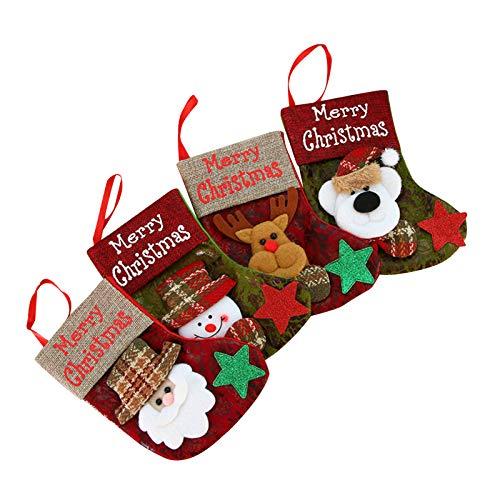 Irishom Calcetines Navideños,Paquete de 4 Calcetines Navideños Clásicos Papá Noel,Muñeco de Nieve,Reno,Oso,Personaje Navideño de Felpa 3D con Puño de Piel Sintética,Adornos Navideños