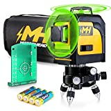 MOTORHEAD 165-Ft Self-Leveling 360-Degree Green Cross-Line Laser Level, Switchable Horizontal & Vertical Beams, IP 54, Pulse Mode w/Leveling Mini-Tripod, Batteries, Magnetic Target & Storage Bag