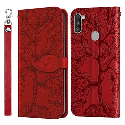Leather Wallet Case for Galaxy A11 Case Pu Leather Flip Wallet Stand Case With Card Holder Slim Case Cover with Card Slots for Samsung Galaxy A11 - ZIRX010358 Red