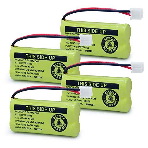BAOBIAN BT18433/BT28433 BT184342 BT284342 BT1011 BT-1011 Phone Battery Compatible with AT&T Vtech CL80109 CS6209 TL90078 BT-8300 BATT-6010 Uniden CS6219 CS6229 BT-1018 BT-1022 (4Pack)