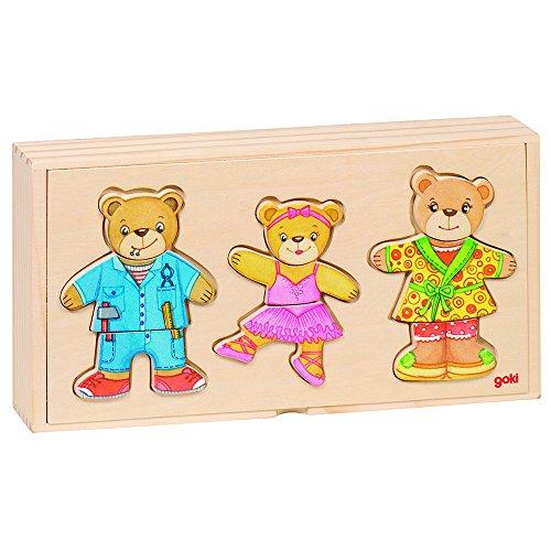 Goki 57811 - Anziehpuppenpuzzle - Bärenfamilie - Basic