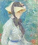 Berthe Morisot - Mujer Joven con Un Sombrero De Paja 1884 Reproducción Cuadro sobre Lienzo Enrollado 50X60 cm - Pinturas Dama Impresións Decoración Muro