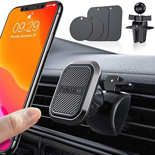 VANMASS Magnetische Handyhalterung Auto mit 6 Stärkste Neodym Magnete Handyhalter Fürs Auto aus Industriequalität Legierung Kfz Handyhalterung mit 2 Lüftungsclips für Alle Handys iPhone Samsung Huawei