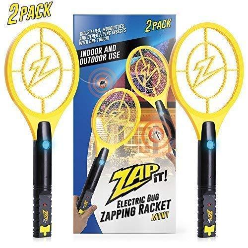 ZAP IT! Packung mit Zwei Elektronische Fliegenklatsche, Wiederaufladbar über USB, gegen Mücken, Fliegen und Käfer, 4000 V, superhelles LED-Licht