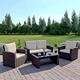 Harrier Rattan Sofa & Coffee Table <span class='highlight'>Set</span> (4 Piece) - Outdoor Patio <span class='highlight'>Garden</span> <span class='highlight'>Furniture</span> | 4 <span class='highlight'>Seater</span> Chair <span class='highlight'>Set</span> With Cushions | Grey & Brown/Cream Colour Options (Brown/Cream)