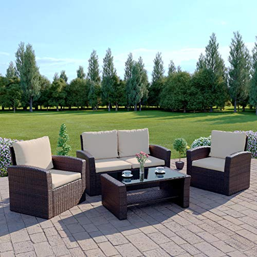 Harrier Rattan Sofa & Coffee Table Set (4 Piece) - Outdoor Patio Garden Furniture | 4 Seater Chair Set With Cushions | Grey & Brown/Cream Colour Options (Brown/Cream)