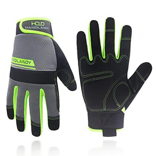 HANDLANDY Work Gloves Mens & Women, Utility Safety Mechanic Working Gloves Touch Screen, Flexible Breathable Yard Work Gloves (Large, Green)