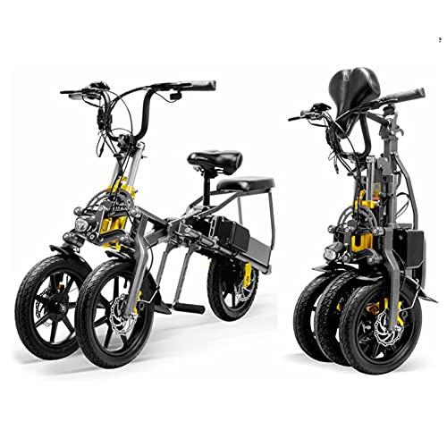 WZW Plegable Bicicleta Electrica 350W Mini Triciclo 14 Pulgadas Bicicleta eléctrica 48V / 7.8Ah 2 Pilas Fácil Almacenamiento Eléctrico Bicicleta por Adultos Hombres Mujeres