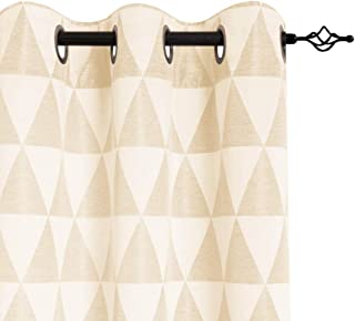 Light Filtering Window Curtains for Living Room Jacquard Curtain Panels for Bedroom Privacy Opaque Delta Pattern Grommet Window Treatment Set 84 inches Long, Beige, 1 Pair