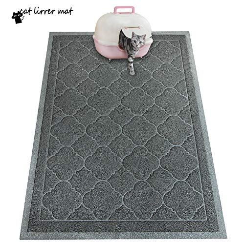 PETUPPY Premium Durable Cat Litter Mat, XL Size 47'X36'- No Phthalate- Non-Slip-Water Resistant- Easy to Clean-Soft On Kitty Paws-Traps Litter from...