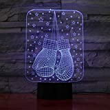 7 Colores Cambiantes Gradientes 3D Estrellas Guantes De Invierno Modelado Luz De Noche Led Ambiente De Dormitorio Iluminación Decoración Para El Hogar Lámpara De Escritorio Usb