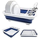 Collapsible Dish Drying Rack Drainer,Foldable Dinnerware Basket Organizer,Space Saving Dish Storage Rack Tray for Kitchen Counter,RV Camper,Blue