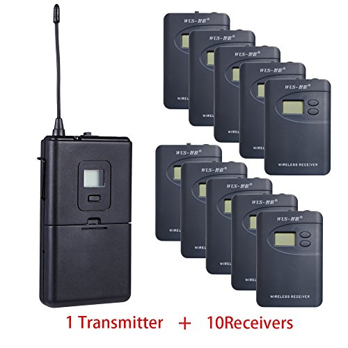 ZLWUS 800R Tour Guide System, UHF794~806MHz Digital AudioGuias y AudioGu¨ªas (1pc Transmisor + 10pc Auricular) para Ense?Anza Visiting and Conference(Gris)