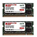 KOMPUTERBAY 2GB (2x1GB) DDR SODIMM (200 pin) 333Mhz DDR333 PC2700 LAPTOP Speicher