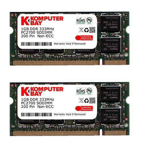 Komputerbay 2GB (2x1GB) SODIMM DDR (200 broches) 333Mhz DDR333 PC2700 mémoire d'ordinateur portable