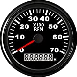 ELING Tacómetro RPM Tacho Gauge Con Cronómetro para Coche Camión Barco Yate 0-7000RPM 85mm Con Luz de Fondo