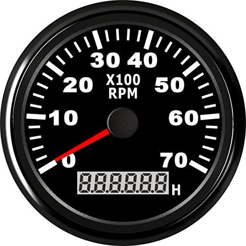 ELING Drehzahlmesser Drehzahlmesser Mit Betriebsstundenzähler Für Auto Lkw Boot Yacht 0-7000RPM 85mm Mit Hintergrundbeleuchtung
