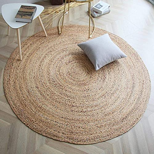 Fernish Décor Handwoven Jute Area Rug, Natural Yarn, Rustic Vintage Braided Reversible Rug, Eco Friendly (6 Feet, Round)