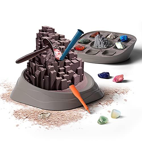 Science Can Gem Digging Kit for Kids Gemstone Dig Kit Excavate 8 Mega Gems STEM Science Toys Mining Kit Rock Collection for Kids Geology Archeology Gift for Boys Girls 6-8 Year Old