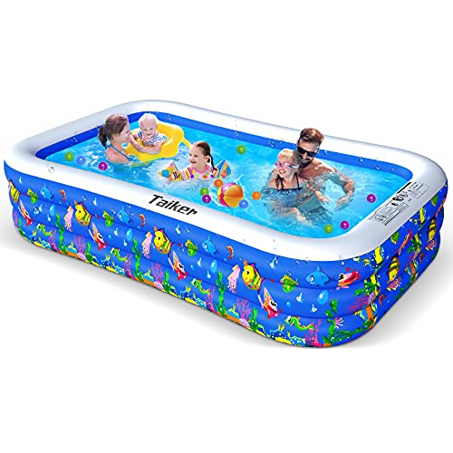 Taiker Inflatable Swimming Pools, Kiddie Pools, Family Lounge Pools, 120'' x 72'' x 20'' Large Family Swimming Pool for Kids, Adults, Babies, Toddlers, Outdoor, Garden, Backyard