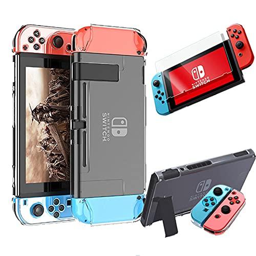 e-smile Nintendo switch スイッチ ハードケース ドック対応 全面保護 ハード カバー ケース クリア 任天堂 保護 Joy-Con コントローラー ジョイコン 着脱簡単 高透明 収納 耐衝撃 強化フィルム付