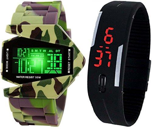 Pappi-Haunt - Reloj de pulsera digital inteligente con diseño de avión noctilucente de silicona, con correa LED negra
