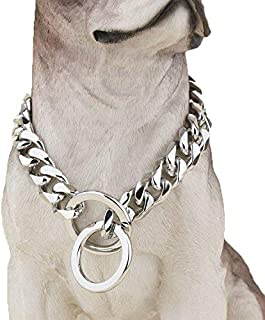 Heavy Duty Choke Cuban Chain Dog Collar for Large Dogs - 20mm XL Extra Wide, Strong Steel Metal Links for Big Breeds - Rot...