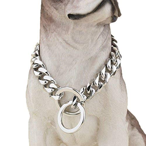 Heavy Duty Choke Cuban Chain Dog Collar for Large Dogs - 20mm XL Extra Wide, Strong Steel Metal Links for Big Breeds - Rottweiler, Pitbull, Mastiff, Cane Corso, Doberman, Great Dane - Silver, 20 Inch
