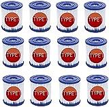 MIBNCE Bestway - Cartucho de filtro para piscina Bestway 58381 tipo I, cartucho de filtro de repuesto tipo I para bombas Bestway de piscina, filtro de cartucho para limpieza de piscina (12 unidades)