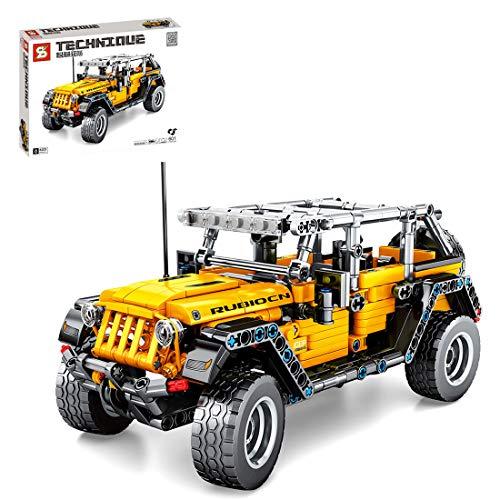 LYCH Modelo todoterreno para Jeep Wrangler, tecnología de coche con motor retráctil, bloques de construcción compatibles con Lego Technic – 601 piezas