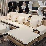 D&LE Piel Impermeable Funda de sofá Asiento Color sólido Antideslizante Almohadilla de orina Protector para sofás Resistente a Las Manchas No Lavado (Vendido en Pieza)-Blanco 2pc-70x70cm