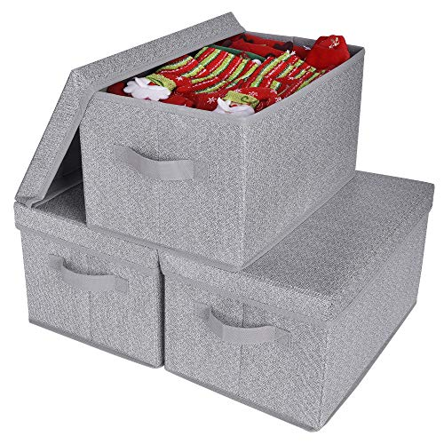 GRANNY SAYS Storage Bins with Lids and Handles, Rectangle Storage Basket, Gray, Large, 3-Pack