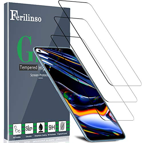 Ferilinso Schutzfolie für Realme 7 Pro/Realme 7 / Realme 6 Panzerglas, [3 Pack] Gehärtetes Glas Bildschirmschutzfolie Panzerglas Hartglas für Realme 7 Pro/Realme 7 / Realme 6 Panzerglas(Transparent)