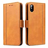 Bozon Handyhülle für iPhone X/XS, Lederhülle mit Kartenfächer, Schutzhülle mit Standfunktion, Klapphülle Tasche für Apple iPhone X/XS (Braun)