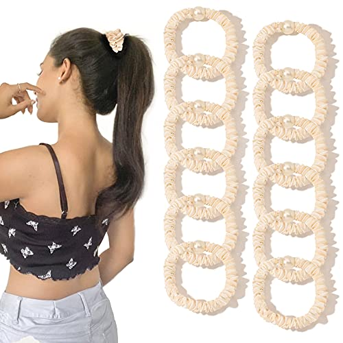 Silk Scrunchies Satin Hair Ties for Women - Small Hair Ties Scrunchy for Thick Hair Cute Soft Slip Mini Hair Elastics Ponytail Holder for Curly Hair No Damage Jumbo Hairties Gift for Girls