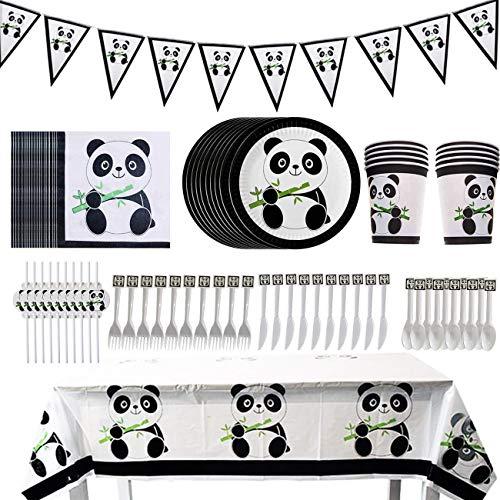 Kit de Decoración de Fiesta de Panda, BESTZY 82 Piezas Fiesta de Cumpleaños Panda Decoraciones Set Vajilla de Panda Juego de Fiesta temática Panda