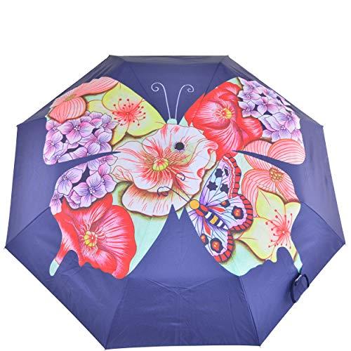 Anuschka Regenschirm, automatisches Öffnen/Schließen, UPF 50+, maximaler Sonnenschutz, wasserdicht, passt in die Handtasche, 96,5 cm Gr. Einheitsgröße, Schmetterlingsmosaik