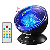 Ocean Wave Projector, Ohuhu Remote Control 12 LED Light Projector Lamp with 7 Color Modes, Ocean Sound Machine for Kids Baby Adult Bedroom Living Room Decor, with Timer Music Speaker, Perfect Gift