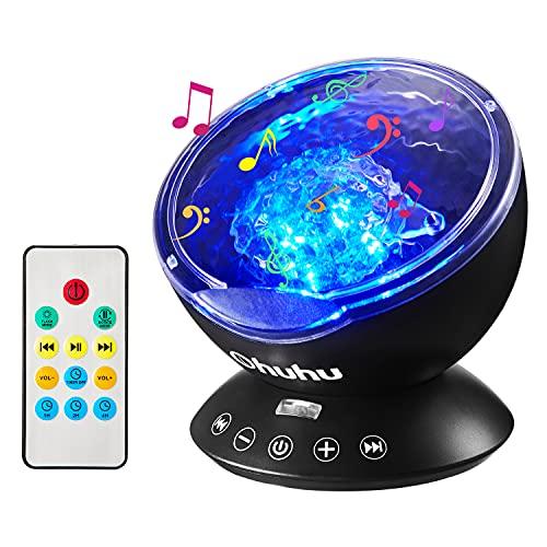 Projetor de luz noturna Ocean Wave, lâmpada de projeção de controle remoto Ohuhu rotação projetor de luz do norte, luz de ambiente atualizada 12 LEDs 7 cores para berçário, presentes para adultos e crianças