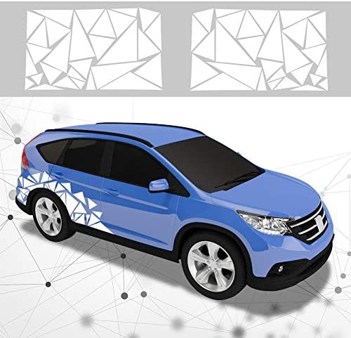 ATMOMO 2 Pieces Triangle Car Decals Vinyl Decal Car Graphics DIY Car Body Sticker White product image