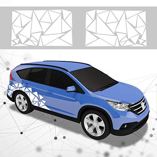 ATMOMO 2 Pieces Triangle Car Decals Vinyl Decal Car Graphics DIY Car Body Sticker, White