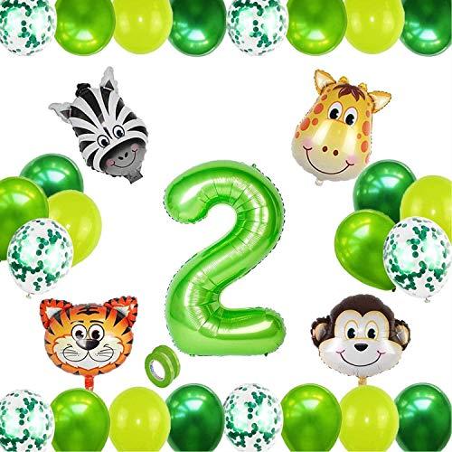 Globo 2, Selva Fiesta de Cumpleaños Decoracion, Globos Grandes de Cumpleaños, 2 Globo Cumpleaños, Decoracion Cumpleaños Niño 2 Años