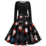 UOFOCO Christmas Dresses for Women Vintage Long Sleeve 1950s Housewife Evening Party Prom Dress