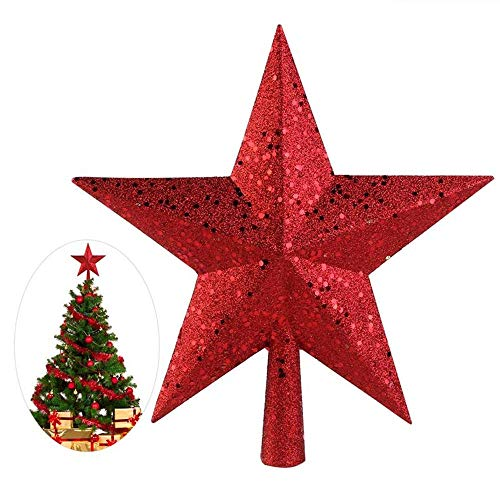 nobranded 9 Inch Treasure Red Sparkling Mini Star Christmas Tree Topper Christmas Tree Top Star New Year Christmas Decoration | Tree Topper