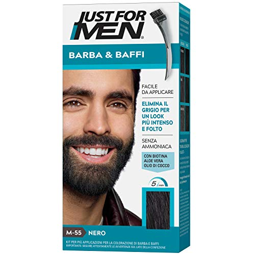 Just for Men Barba & Baffi, M55 – Nero, Tinta colorante per barba e baffi (formula arrichita)