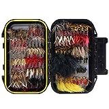 Cobeky 120 unids Moscas secas Moscas húmedas Kit surtido con caja impermeable para pesca de trucha