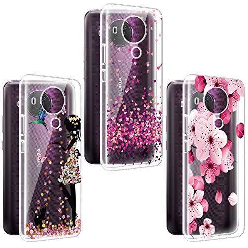 PZEMIN 3 Stück für Nokia 5.4 Hülle Handyhülle Silikon Gummi Clear Schale Transparent Durchsichtig TPU Bumper Schutzhülle, WM49+WM85+WM113